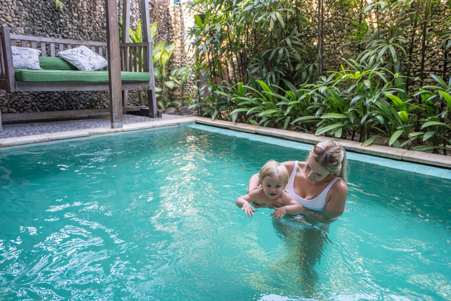 Ollie and Paige in our pool - Tugu Hotel Bali - Live Life and Roam (1 of 1)