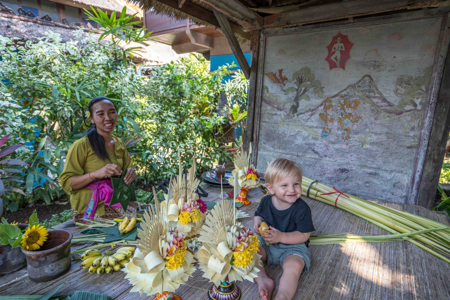 Ollie making offerings - Tugu Hotel Bali - Live Life and Roam (1 of 1)